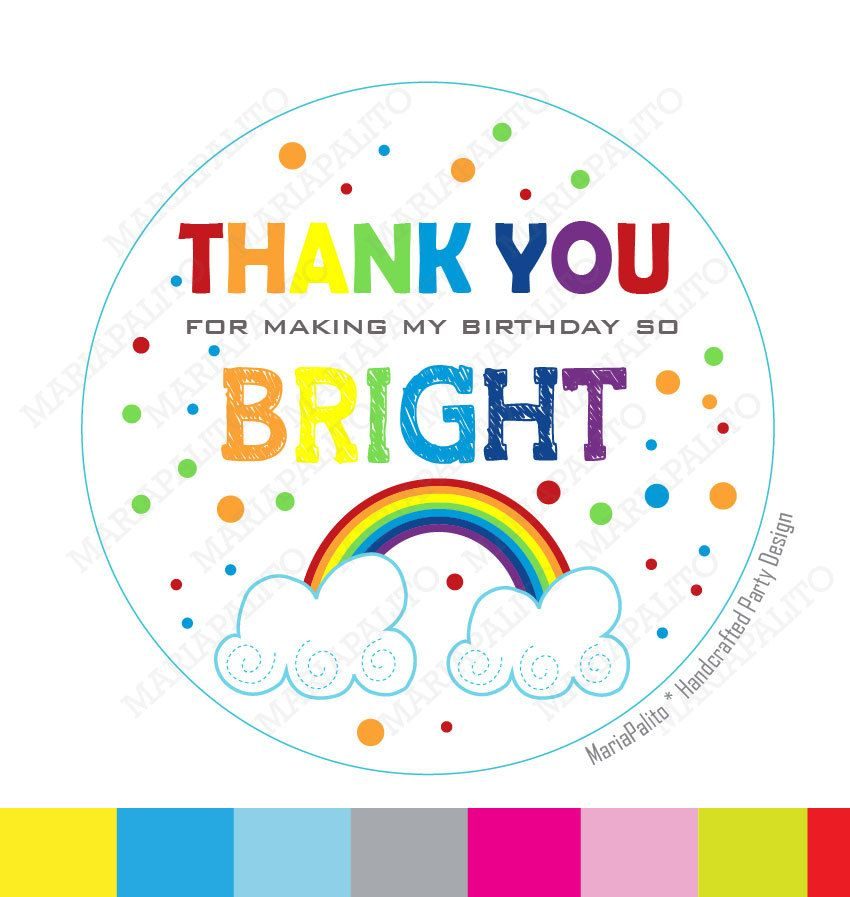 New to mariapalito on etsy rainbow stickers thank you printed party rainbow round stickers tags