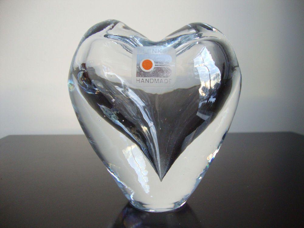 Blenko Art Glass Heart Vase Paperweight Valentines Day My Blenko