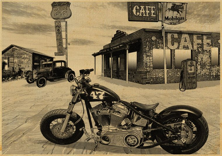 Click To Buy USA Route Vintage Motorcycle Poster Kraft Paper - Classic motorcycle custom stickers