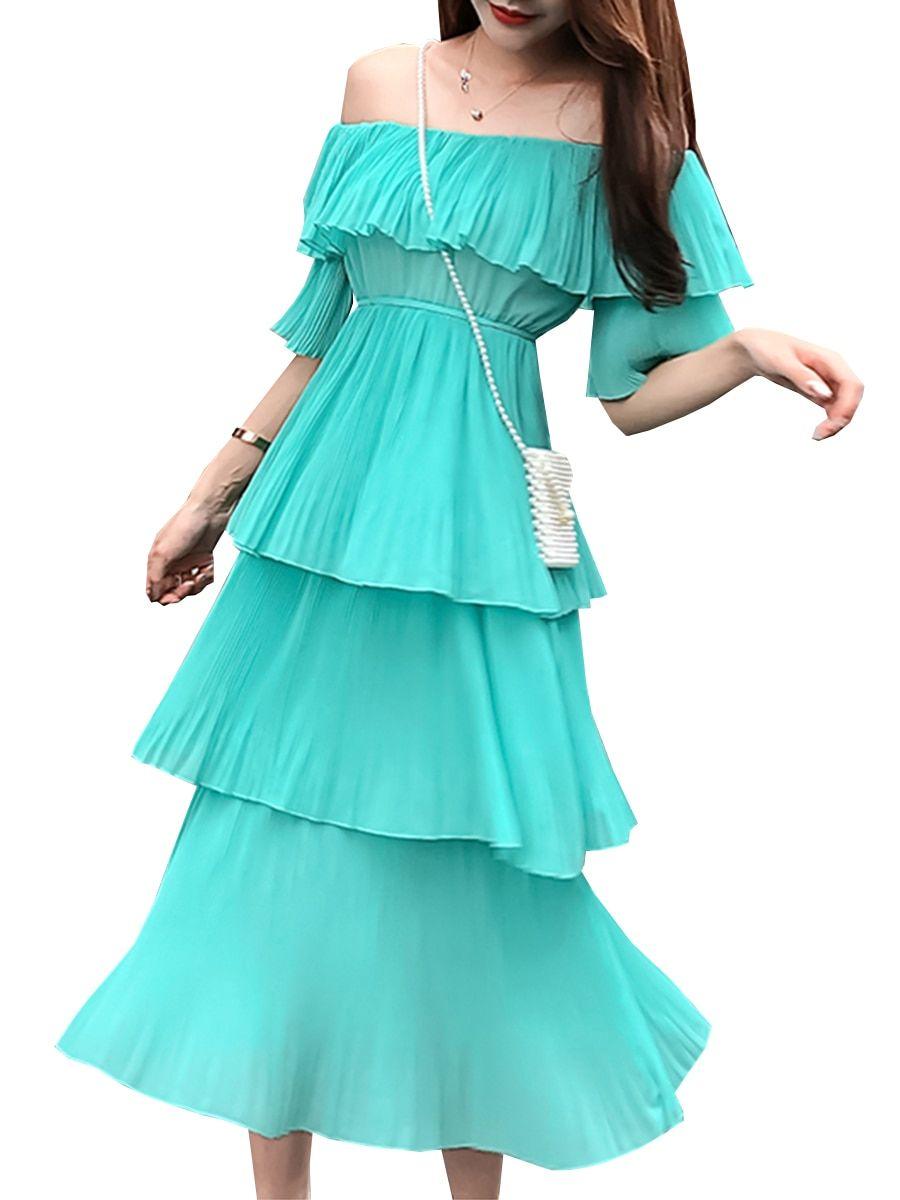 a76fe8b45a98 Buy Women's Aline Dress Slash Neck Off Shoulder Ruffled Tiered Solid Color  Midi Dress &