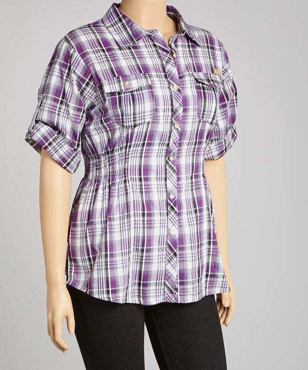 Take a look at this Apple Bottoms Purple Plaid Button-Up - Plus on zulily today!