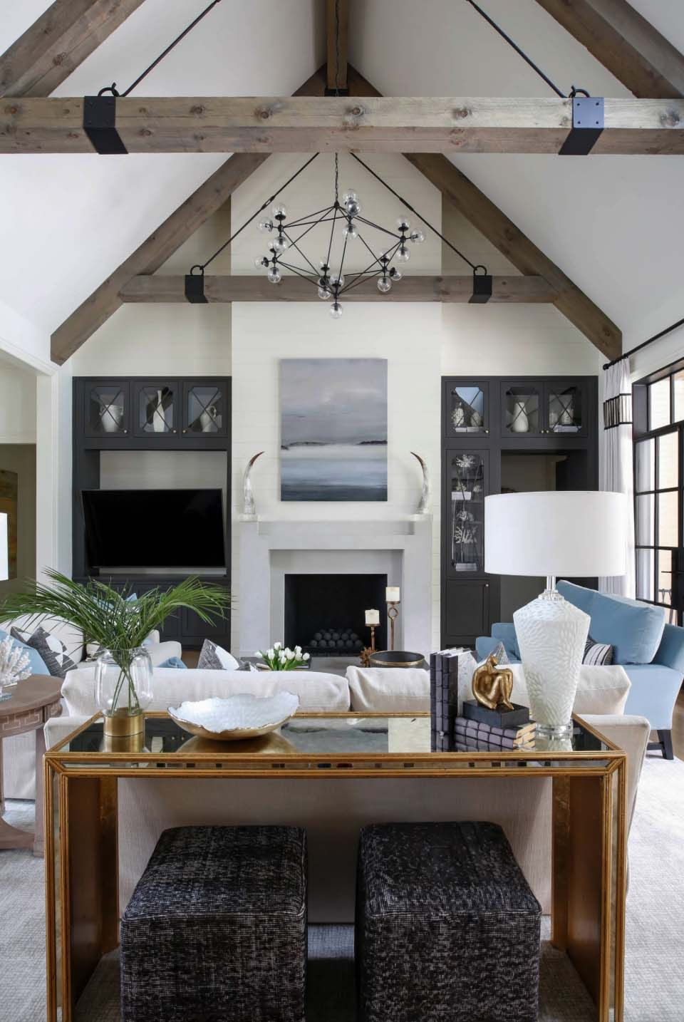 Cape Cod Colonial Home With A Modern Contemporary Twist In Nashville Cozy Living Room Design Transitional Living Rooms Living Room Design Diy