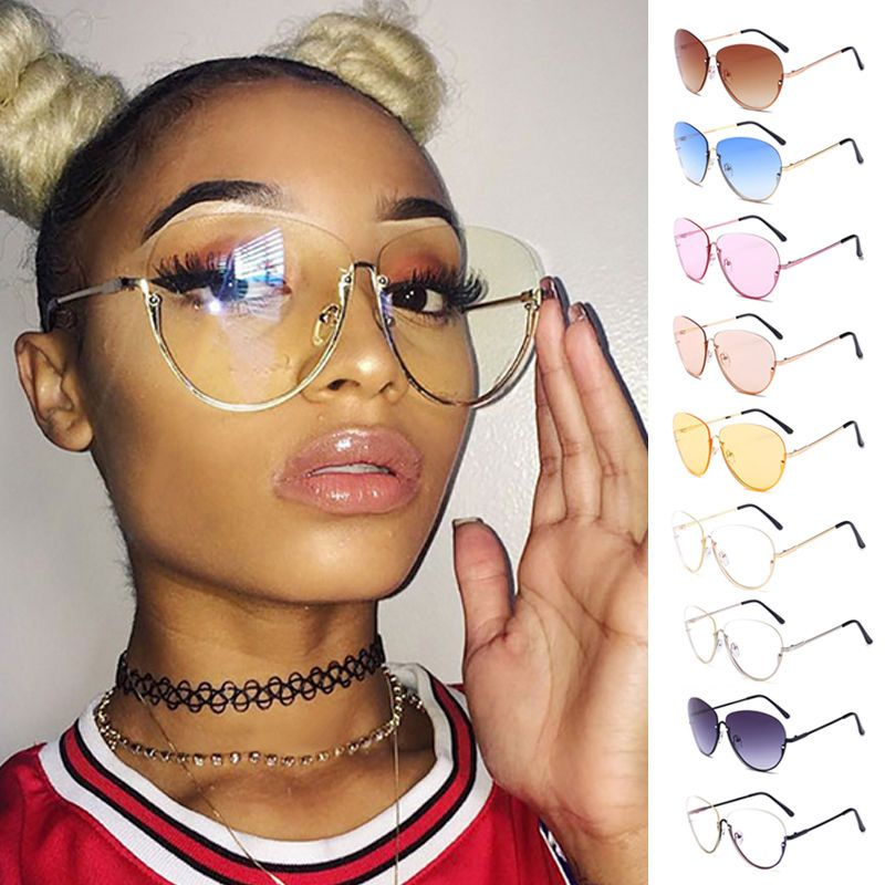69411c0b1ea7b Oversized Designer Aviator Eyeglasses Gold Metal Frame Clear Lens Women  Glasses