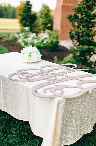 Monogram til ophængning (wishing Tree ) med hilsner fra gæster || via Every Last Detail- Lover.ly
