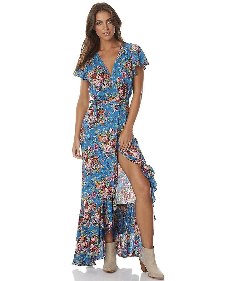 178d4769d6 AUGUSTE BEACH HOUSE FRILL WOMENS WRAP MAXI DRESS - LONGBEACH FLRL BLU