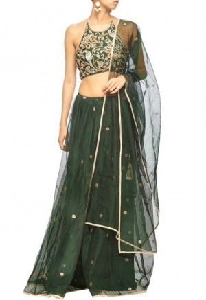 97b40462ba1f5 Green lehenga with halter neck blouse and dupatta