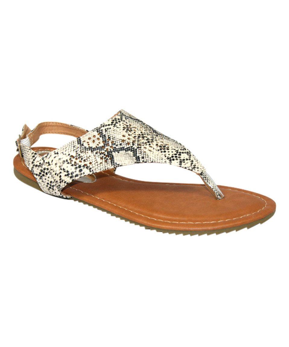 Victoria K Beige Embellished Snake-Print Sandal by Victoria K #zulily #zulilyfinds