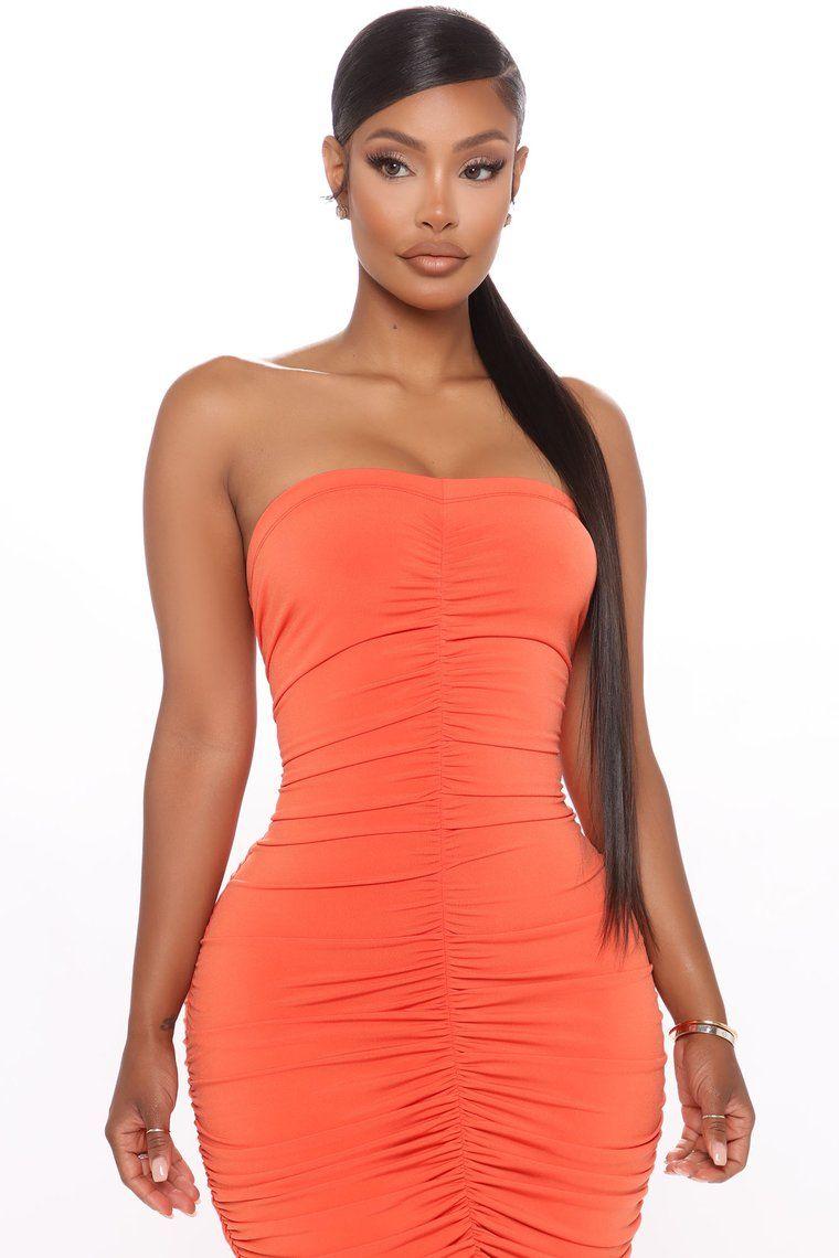One Hot Mamacita Ruched Midi Dress Orange Ruched Midi Dress Fashion Dresses [ 1140 x 760 Pixel ]