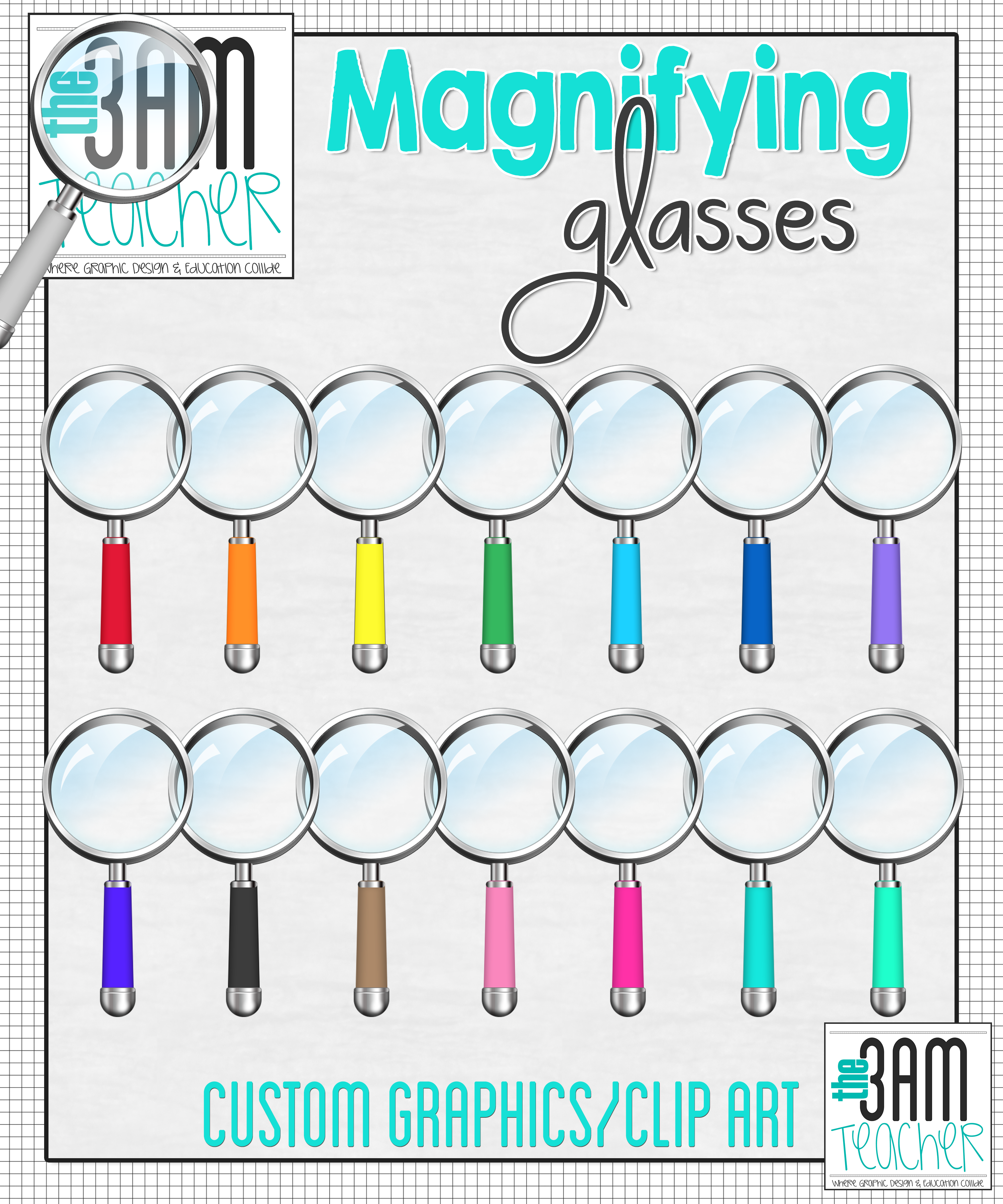Realistic Magnifying Glass Clipart Graphics