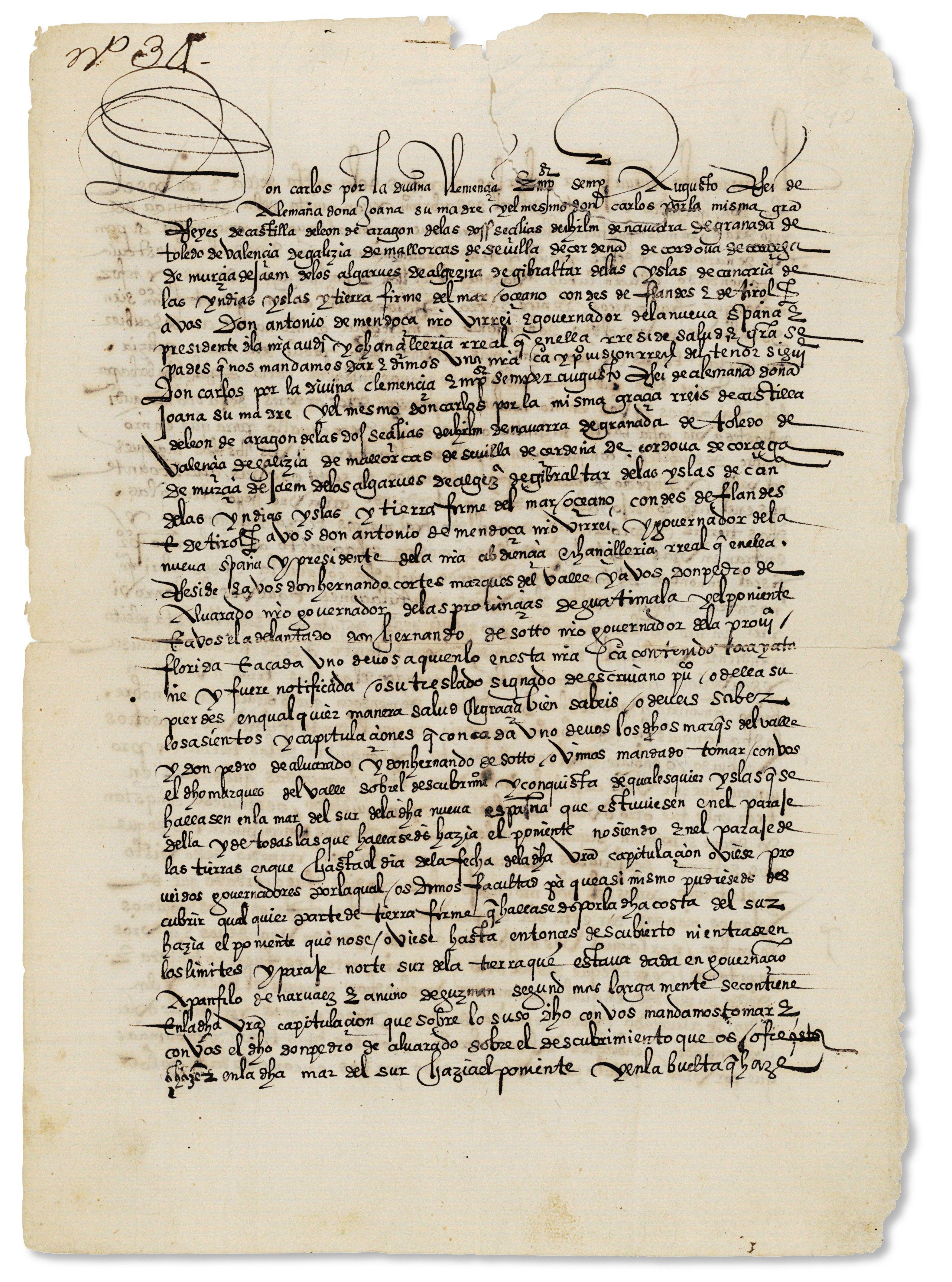 CHARLES V Manuscript letter signed on behalf of KING