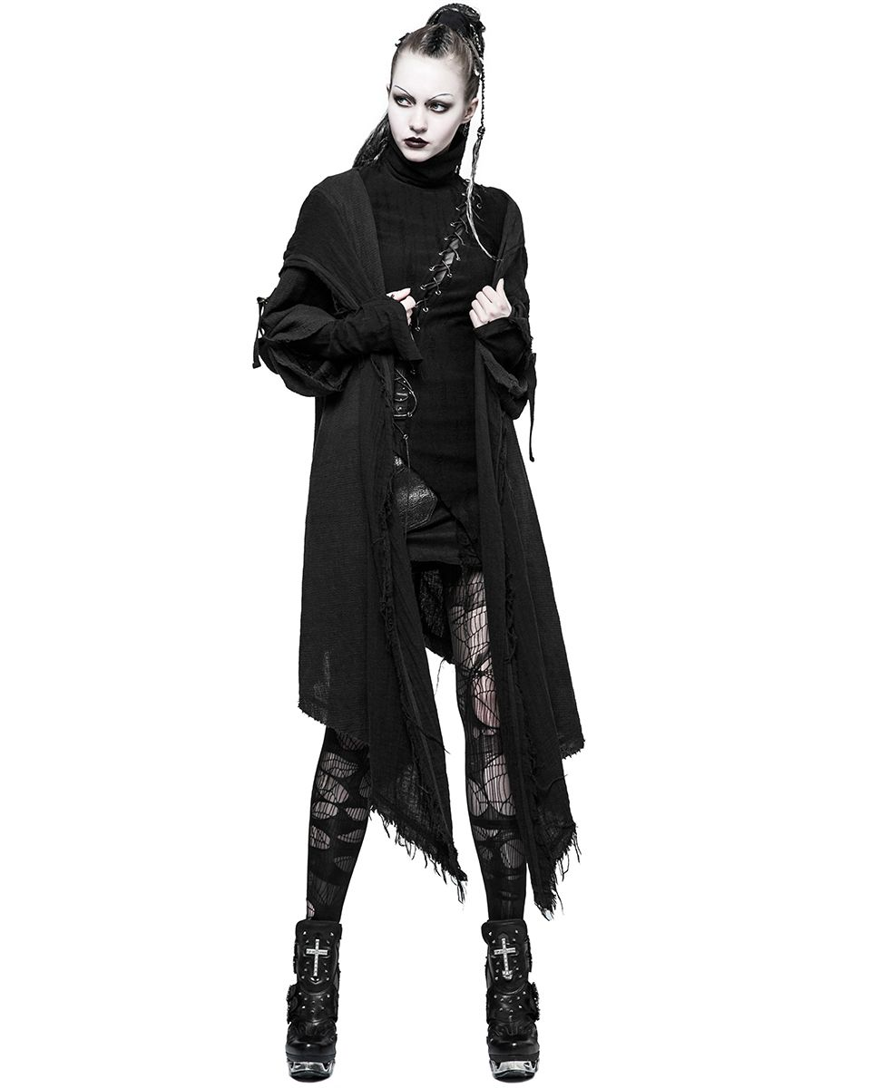 Peony ghost Steampunk Men Trench Coats Black Strentch Coats with Leather Gothic Hooded Detachable Long Coats