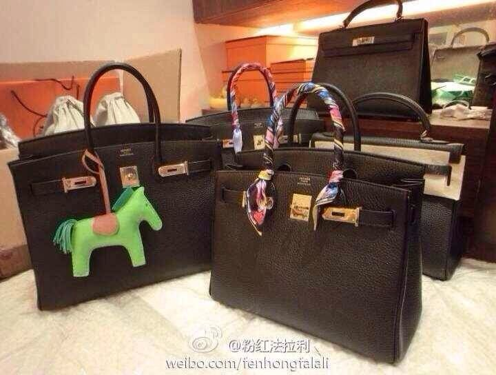 f2d544efeb5 Hermes Birkin 35CM in black Togo leather with Horse Rodeo Bag Charm ...