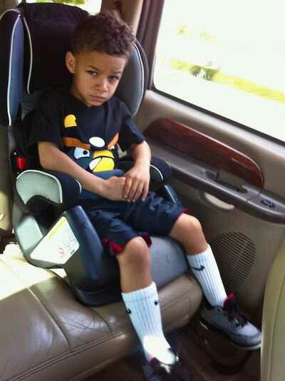 he too big for that car seat tho lol