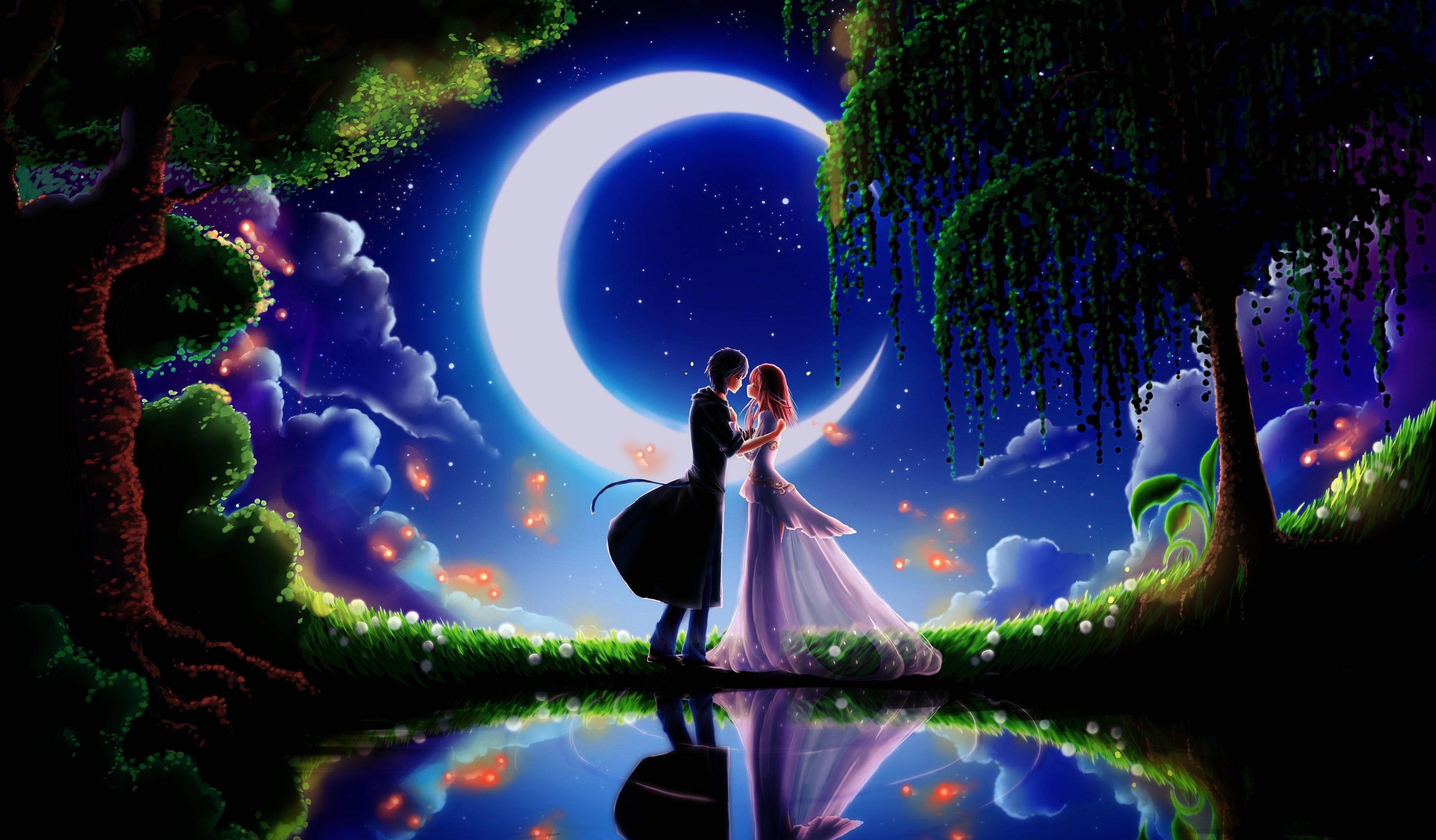 Beautiful Anime Couple In Moonlight Anime Wallpaper Anime Background Love Wallpaper