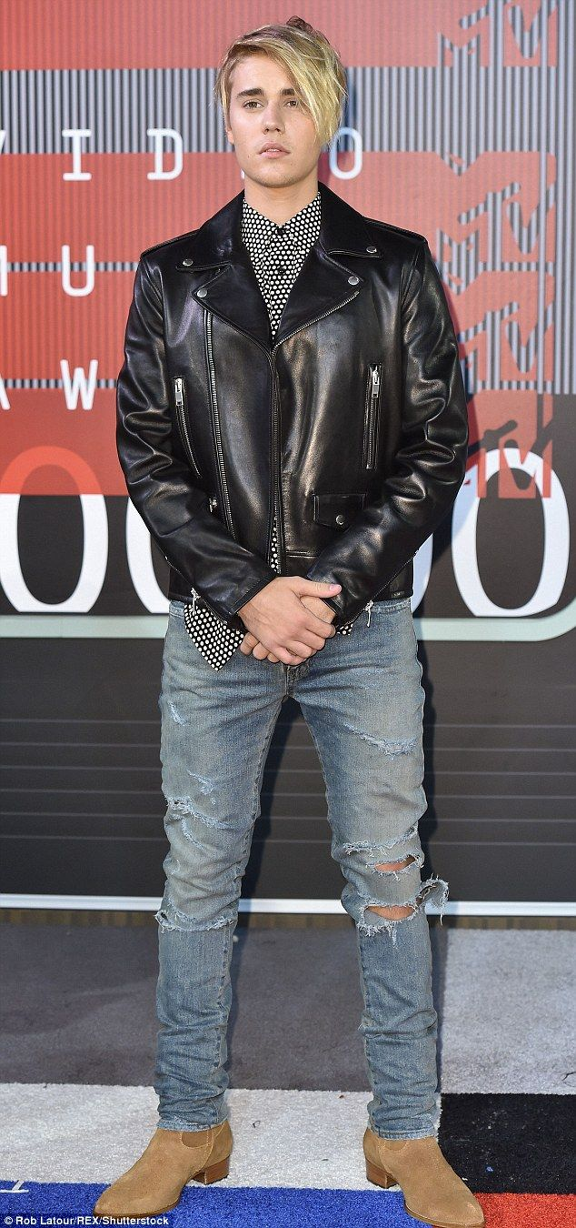 Wrist Grab Is The New Pose For A List Male Stars Like Justin Beiber Celebrities Leather Jacket Black Outfit Men Justin Bieber Style [ 1350 x 634 Pixel ]