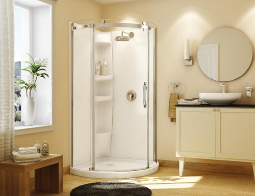Maax Olympia 36 X 36 X 77 White Round Shower Kit With 40