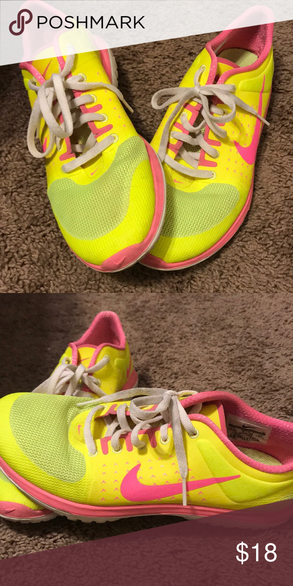 size 40 a649b 38c61 Nike shoes yellow and pink nike shoes lightly worn size 5.5 youth (7.5  women s) Nike Shoes Sneakers