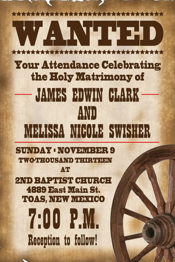 4x6 old west wanted wedding invitation by paynegraphics on etsy
