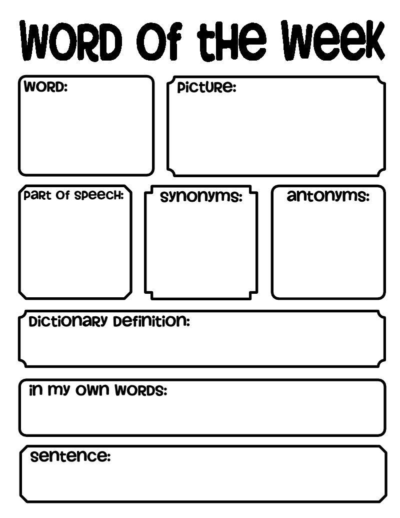 Worksheets Bell Work Worksheets word of the week good for bell work or as a cross curricular ringers