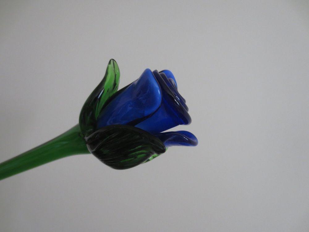 Vintage Hand Blown Art Murano Glass Blue Rose Flower Green Stem 19 Long Blue Rose Rose Flower Blown Glass Art