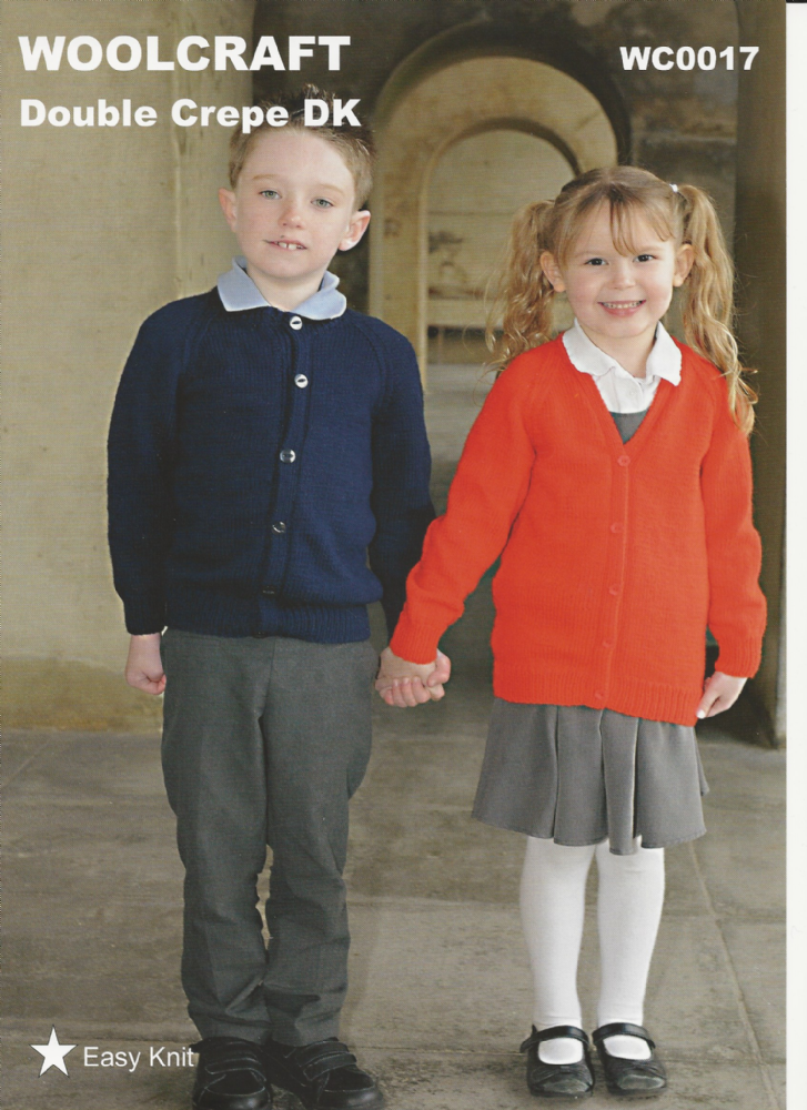 Woolcraft Childrens School Cardigans Knitting Pattern In Dk Wc0017
