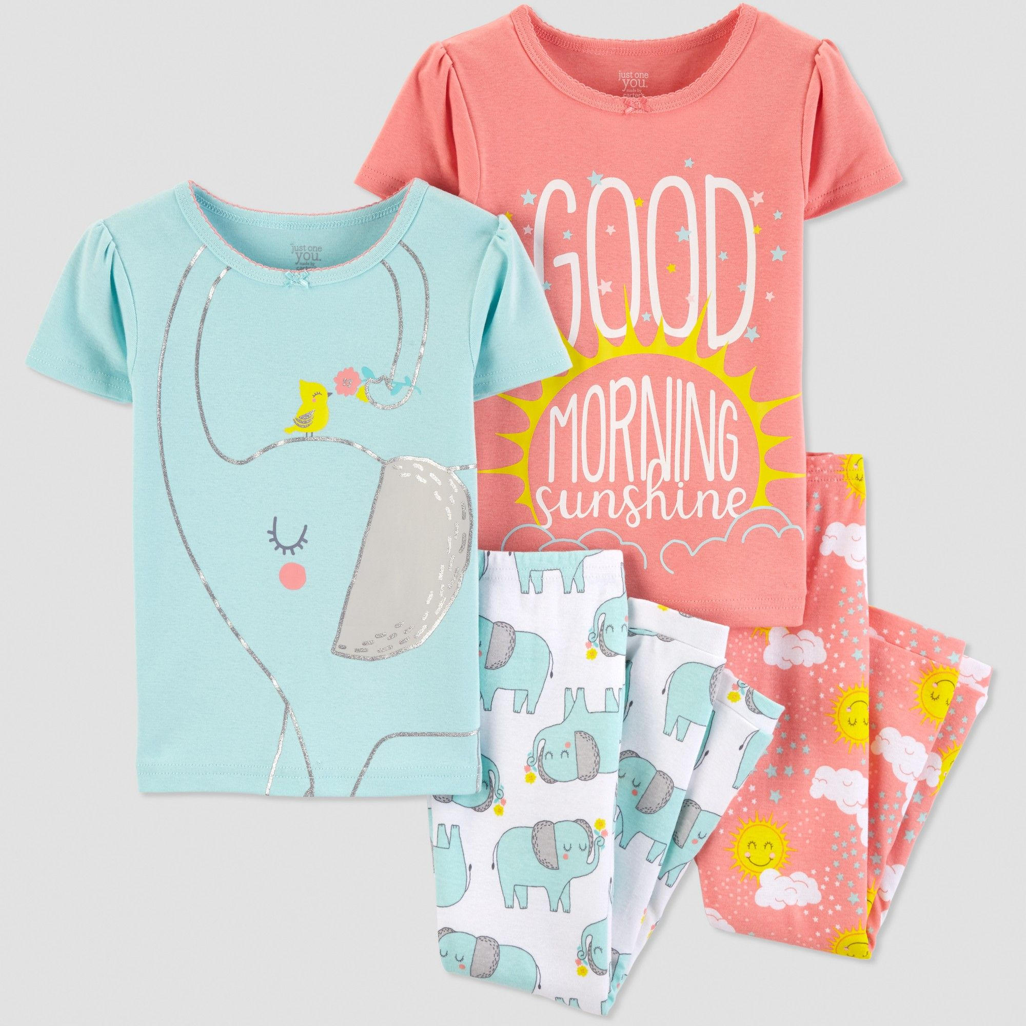 33968f02ca Baby Girls  4pc Elephant Pajama Set - Just One You made by carter s ...