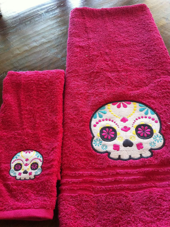 Sugar Skull Bathroom Towel Set Day Of The Dead By Nestofagemini