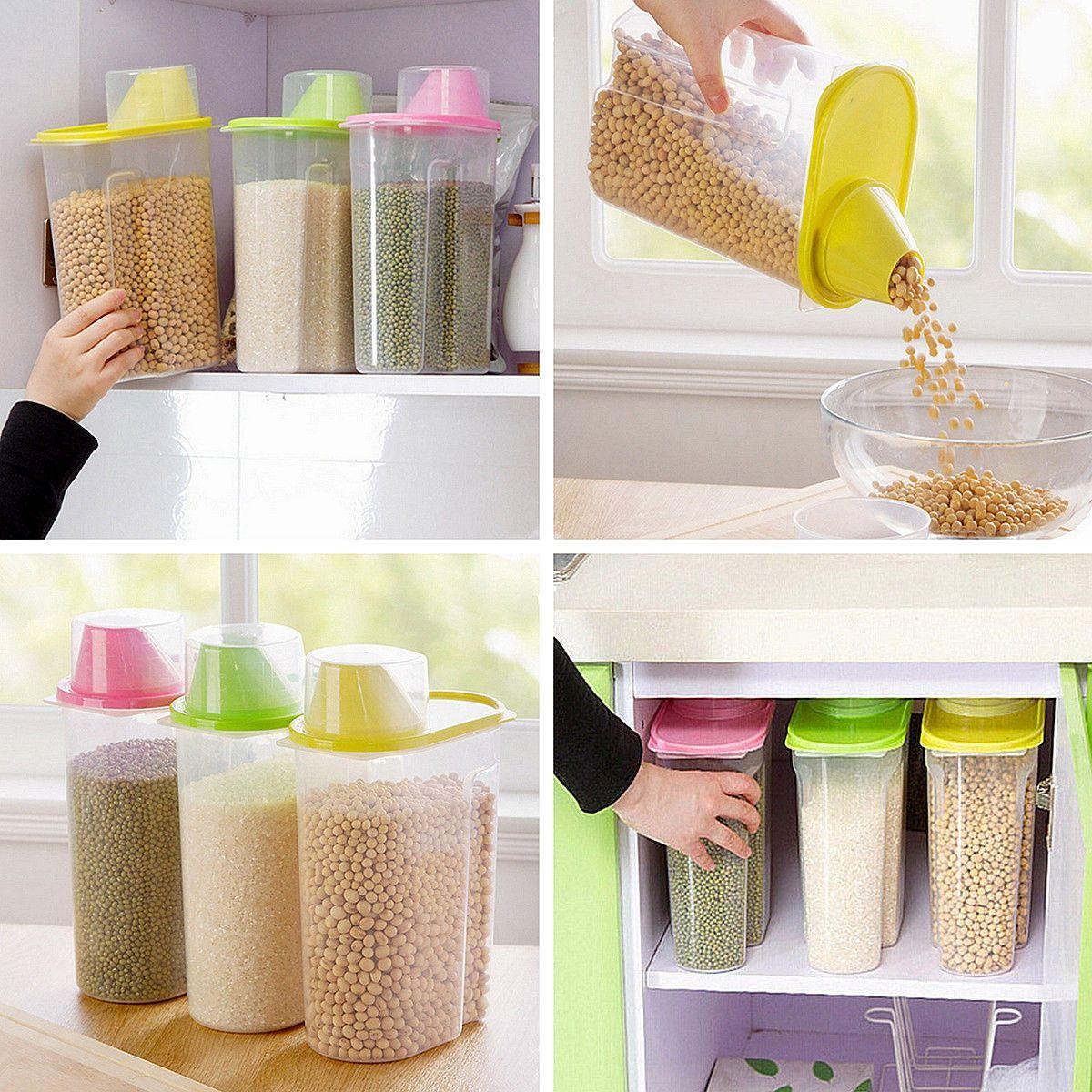 Big 1.9L Plastic Kitchen Food Cereal Grain Bean Rice Storage ...