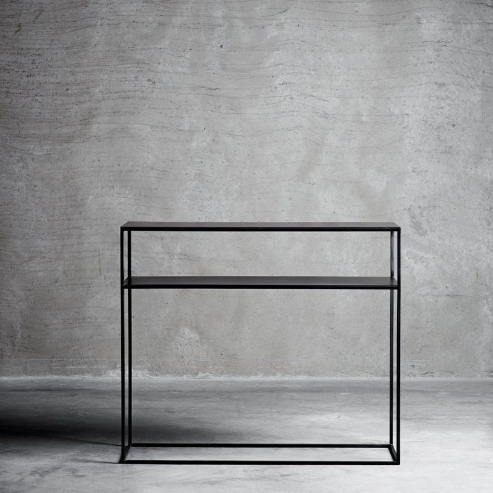 Exceptional Beautiful Console Table In Black Iron And With A Shelf Under The Table Top.  The