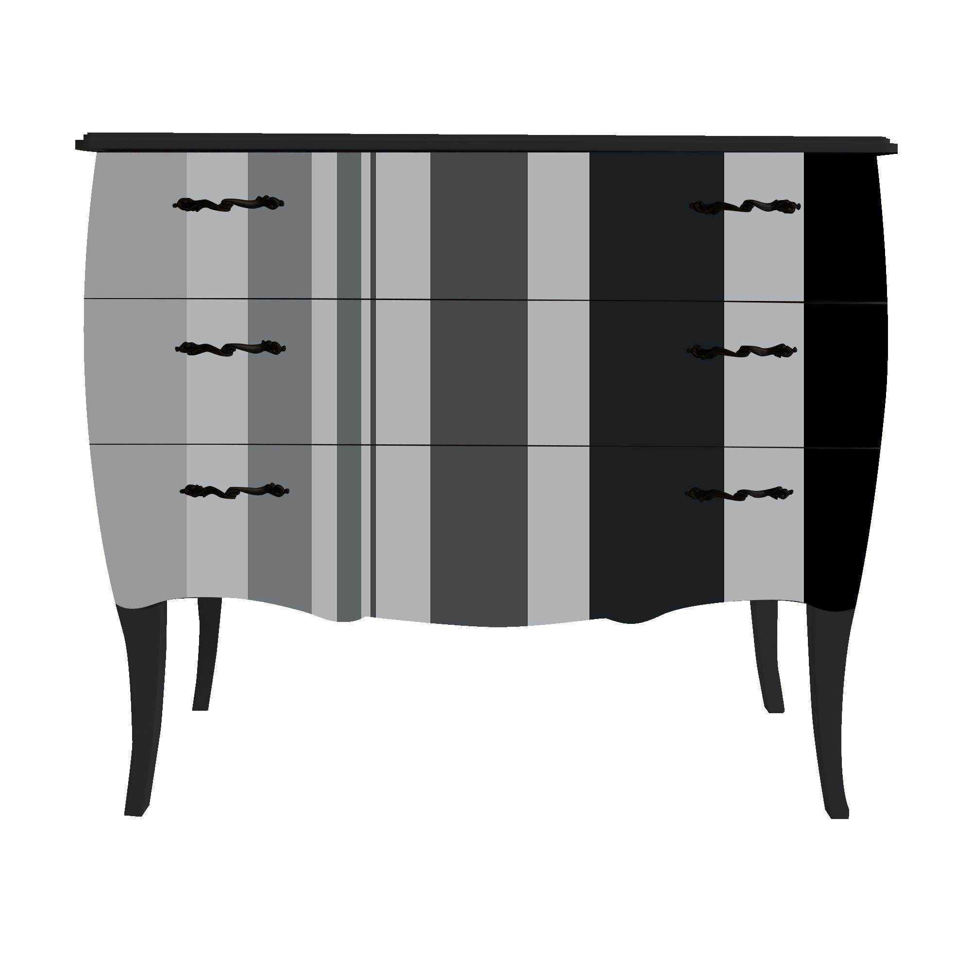 Petite commode à 3 tiroirs - Imprimé Larges rayures Verticales Noir ...