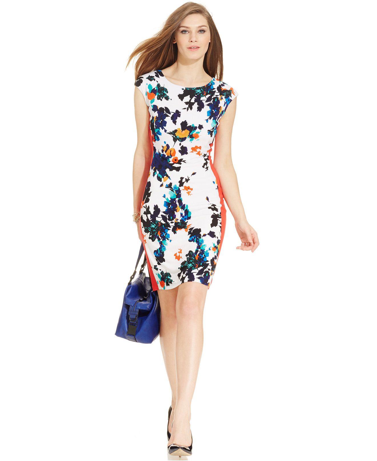 Ronni nicole capsleeve floral colorblock sheath dresses