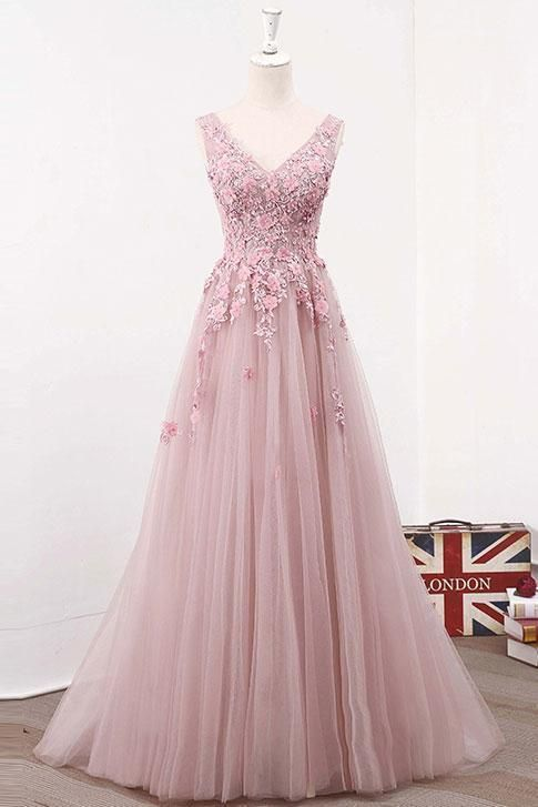 Pink V Neck Tulle Lace Long Prom Dress Pink Evening Dress122702 In