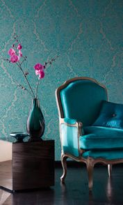 Love the colors! And I am loving vintage looking wallpaper!!