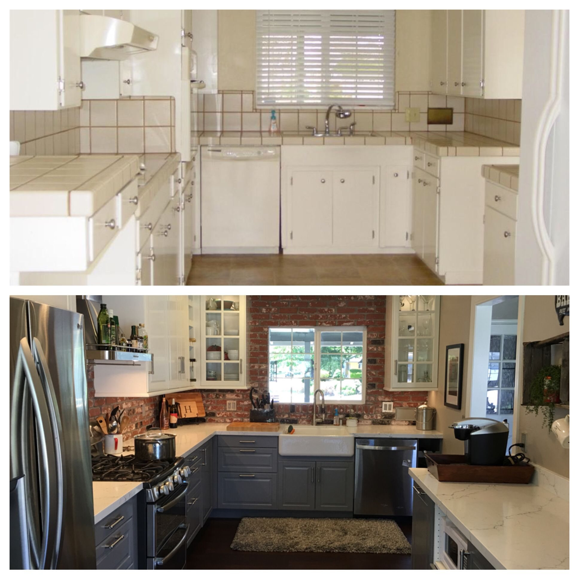 before and after. our ikea kitchen remodel. bodbyn cabinets