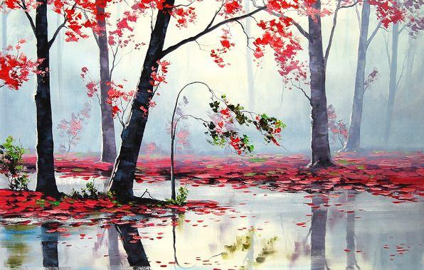 Wallpaper art, autumn, river, trees, red