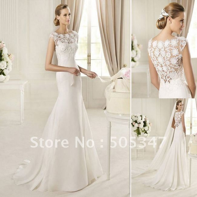 Imitated Silk And Lace Jewel Neckline Mermaid Style With Exquisite Back 2013 Wedding Dresses
