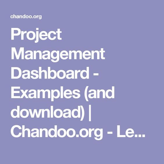Project Management Dashboard Examples And Download Chandoo