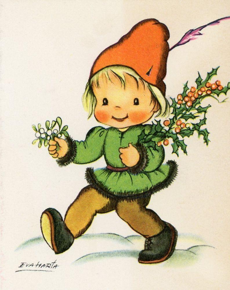 Vintage Christmas Greeting Card Crestwick Elf Imp Pixie By Eva Harta Eb6651 Postales Antiguas Eva Navidad