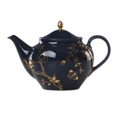 Lenox   Sprig & Vine Teapot In Navy - Inspired by vintage textiles, the lively Sprig & Vine Collection from Lenox brightens your table with chic botanicals. Colorful and sophisticated, it's crafted in porcelain in contemporary coupe shapes with gleaming gold accents.