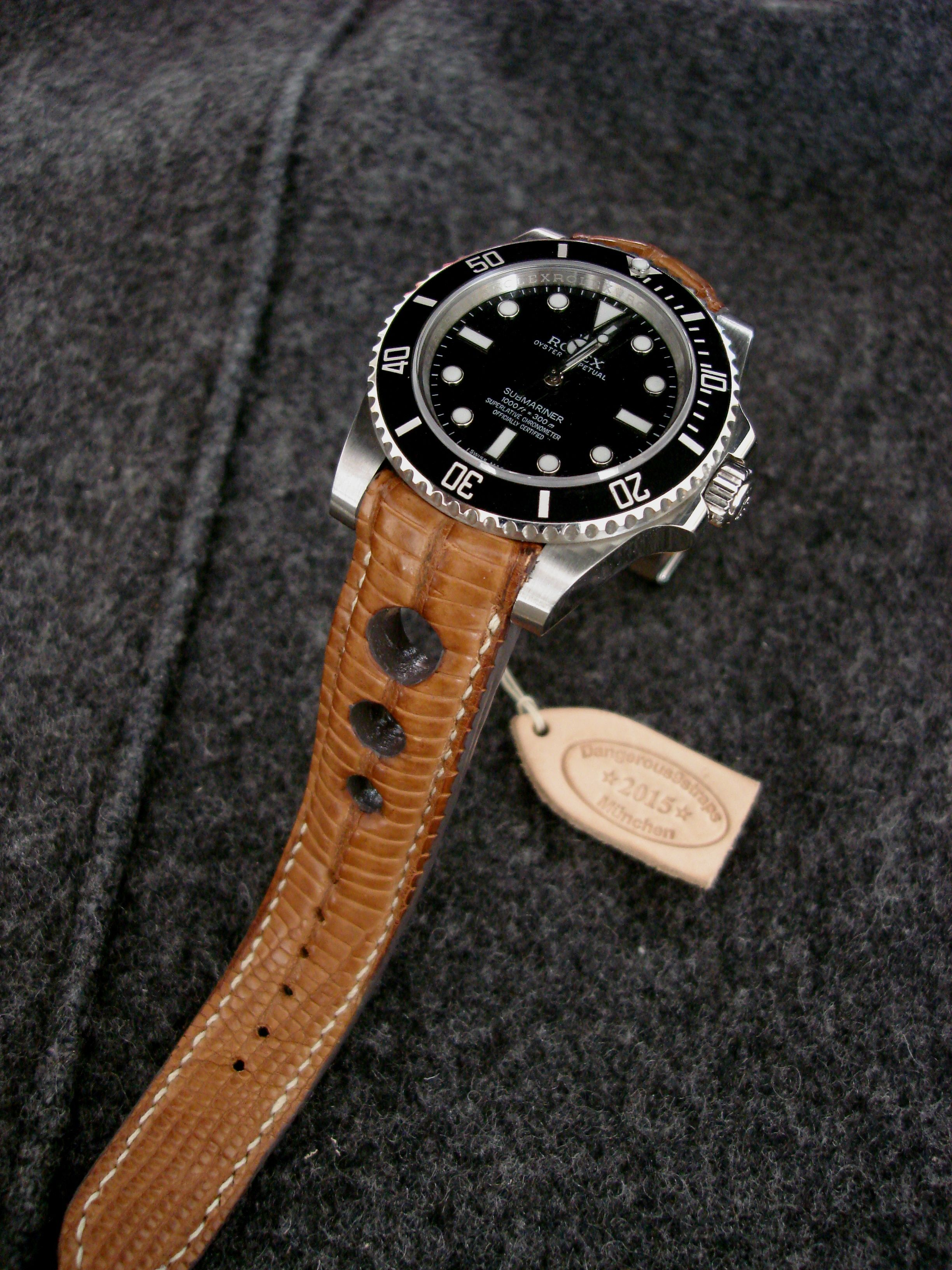 Rolex Sub No Date On Racing Tan Teju Rally Strap Montre