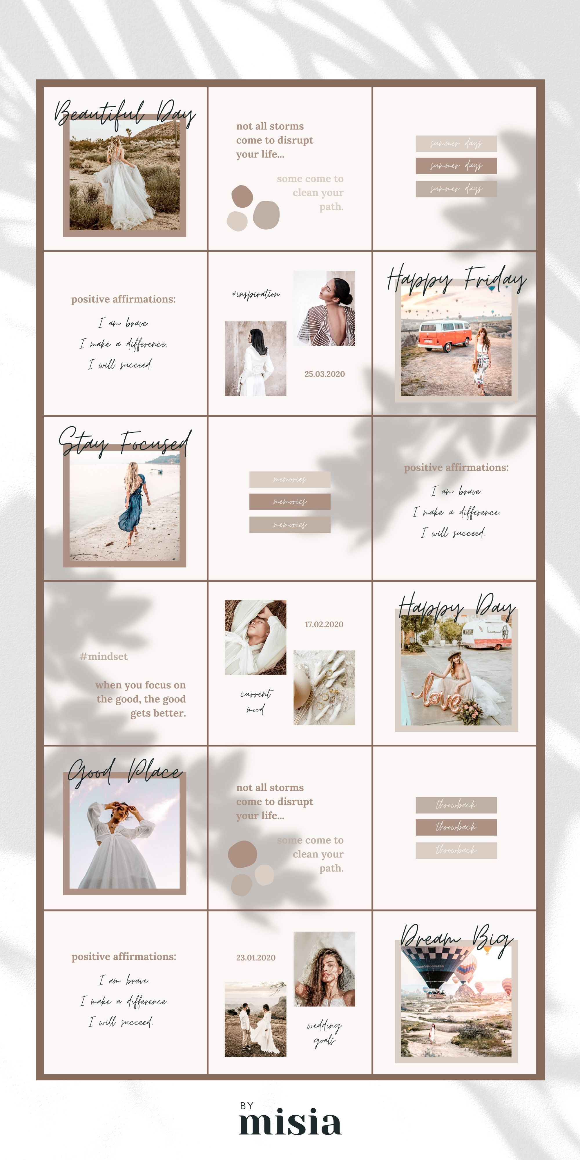 Instagram Puzzle Template For Canva Instagram Template Etsy In 2020 Instagram Template Design Instagram Design Layout Instagram Template