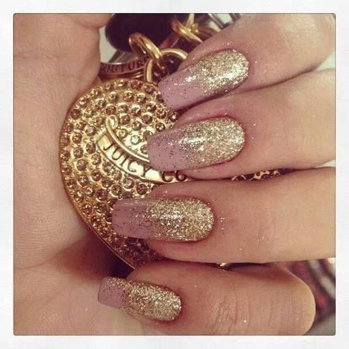 Golden Glitter Pink Nails Nail Gold Art Designs