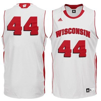 f21c9a76de4f Wisconsin Badgers adidas No. 44 Youth Replica Basketball Jersey – White    39.95