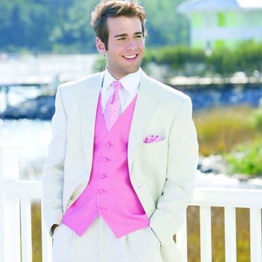 Grooms White And Pink Tux