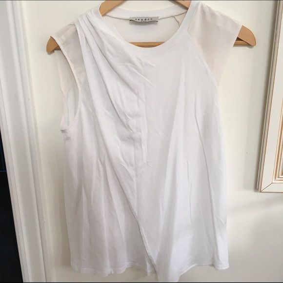 Sandro Paris sleeveless blouse Combo silk and tee on this pretty sleeveless Sandro blouse. Overlay in front adds detailing. Size XS Sandro Tops Blouses