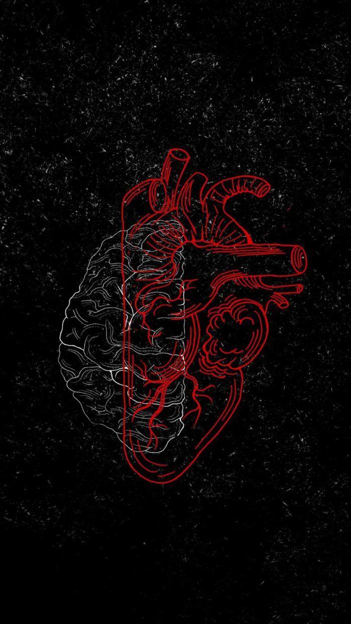 Brain vs Heart Art - iPhone Wallpapers