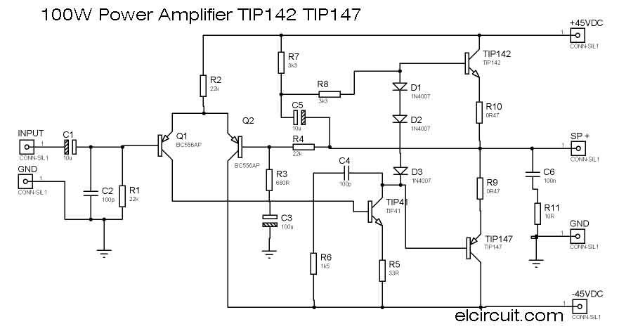 100w power amplifier tip142 tip147 electronic component info diy100w power amplifier tip142 tip147