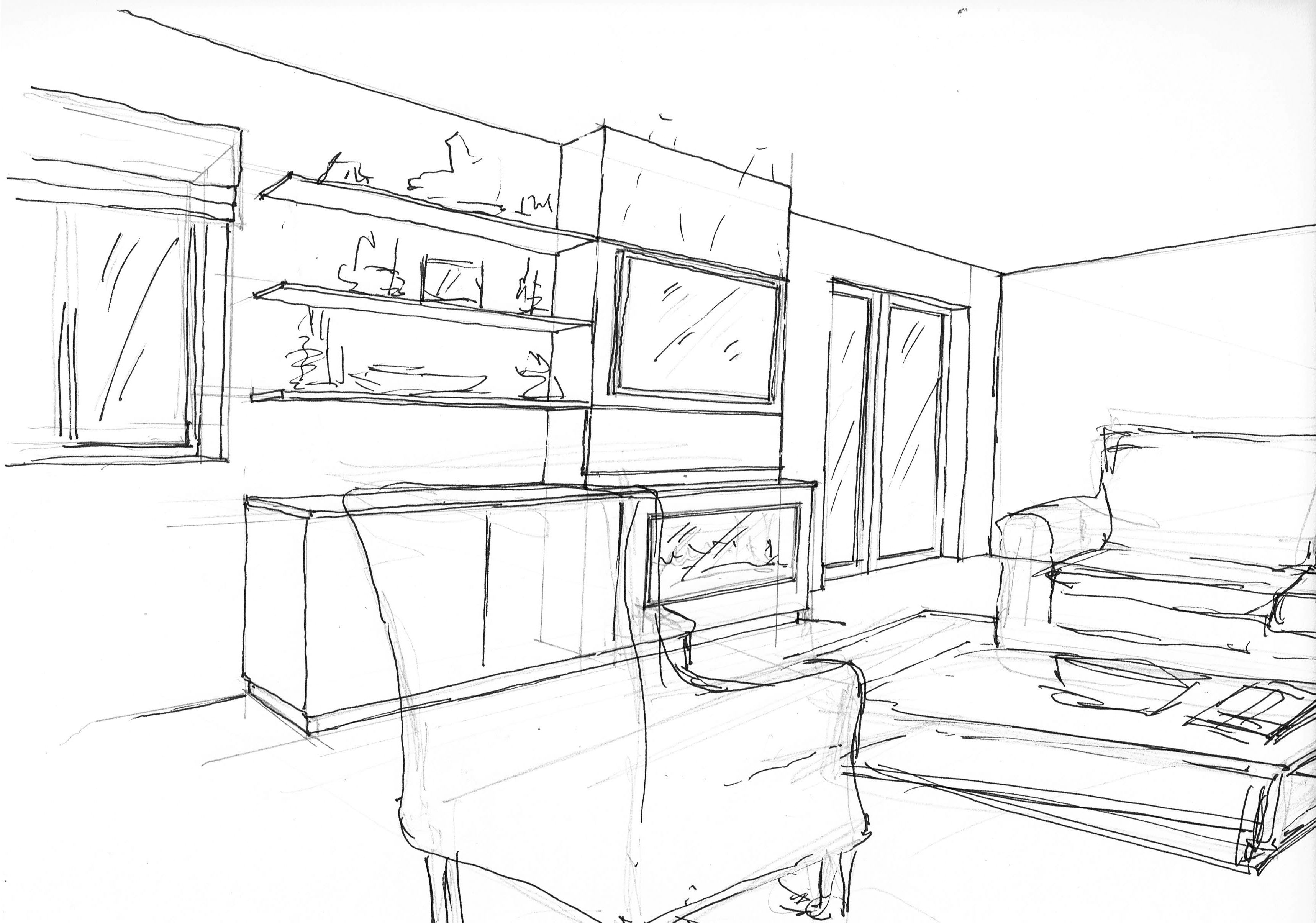 Quick Sketch Visual Of Sitting Room Fire Place Amanda  # Muebles Google Sketchup