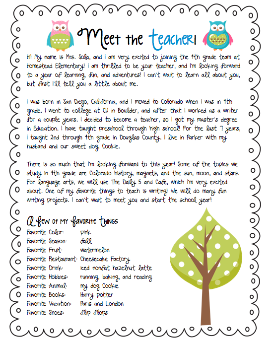 teacher introduction letter template