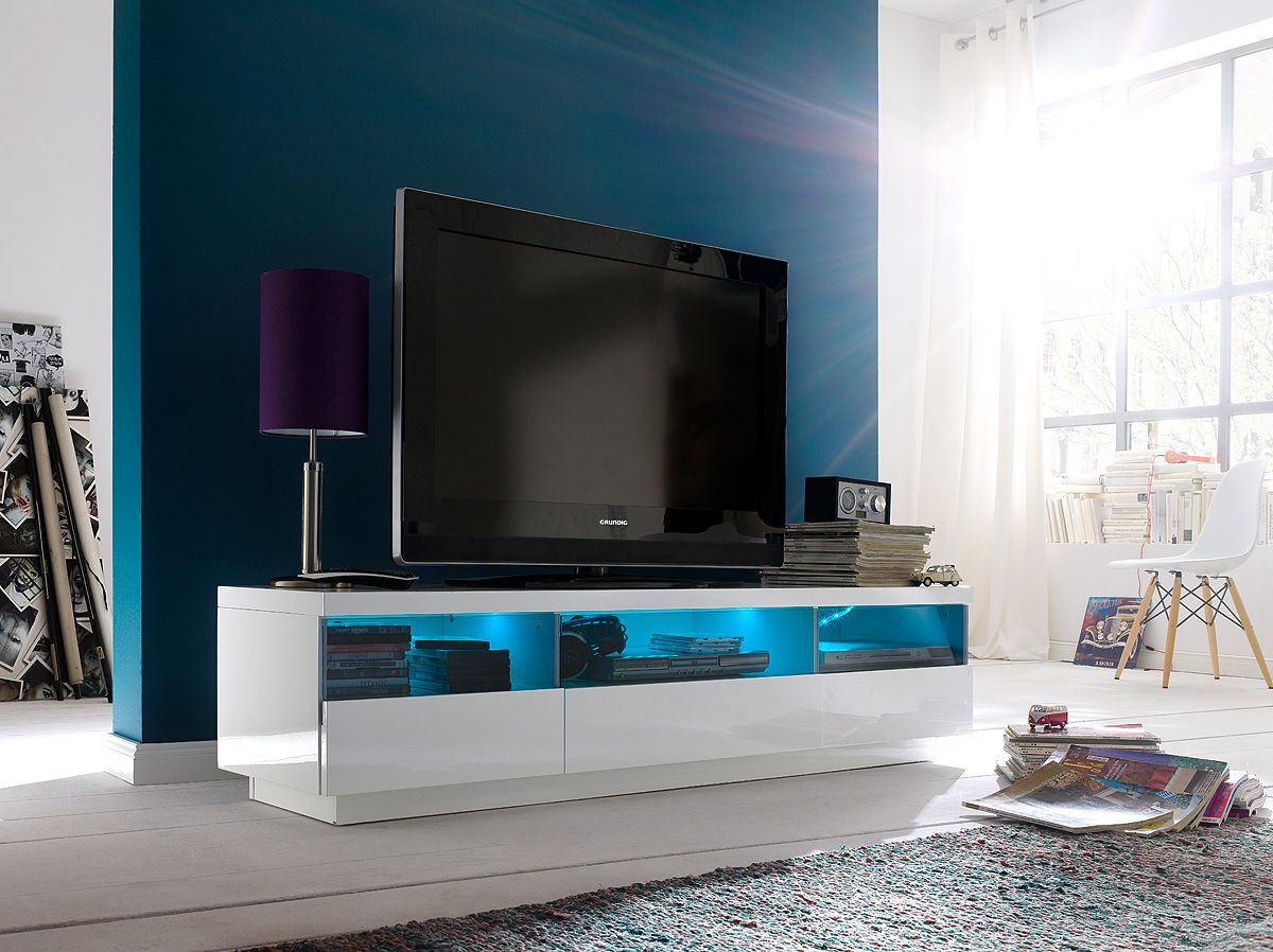 Modern High Gloss White Tv Stand With Led Lighting Online At Funique Co Uk